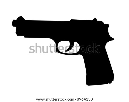 B&W silhouette of a handgun over white background - stock photo
