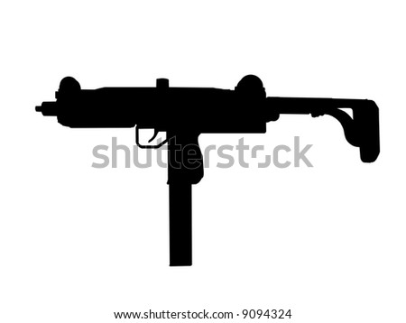 B&W silhouette of a 9mm Uzi over white background - stock photo