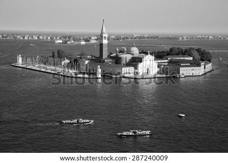 B&W view of famous San Giorgio Maggiore island and church near San Marco, Venice Italy - stock photo
