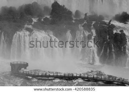 B&W Waterfall - stock photo