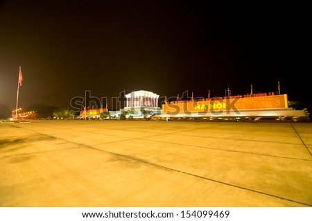 Ba Dinh Square in Hanoi, where president Ho Chi Minh read the Proclamation of Independence of the Democratic Republic of Vietnam on September 2, 1945. the Ho Chi Minh Mausoleum was built after he died - stock photo