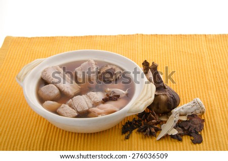 ba kut teh. Malaysian stew of pork and herbal soup, - stock photo