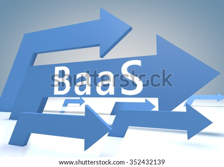 BaaS - Backup as a Service 3d render concept with blue arrows on a bluegrey background.