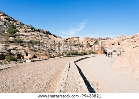 Bab as-Siq - way to town Petra in Jordan - stock photo