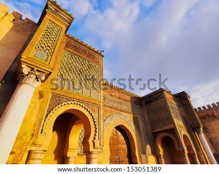 Bab Mansour - beautifully decorated gate of the old medina in Meknes, Morocco, Africa - stock photo