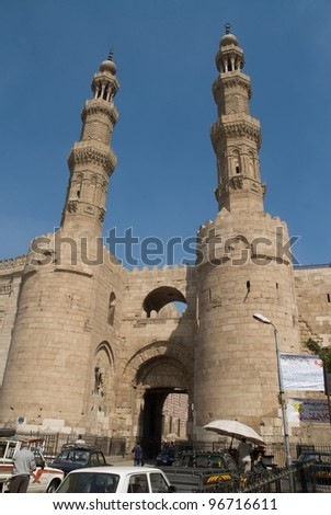 Bab Zwella in the heart of old Cairo - stock photo