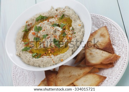 Baba ghanoush, levantine eggplant dish with parsley and olive oil - stock photo