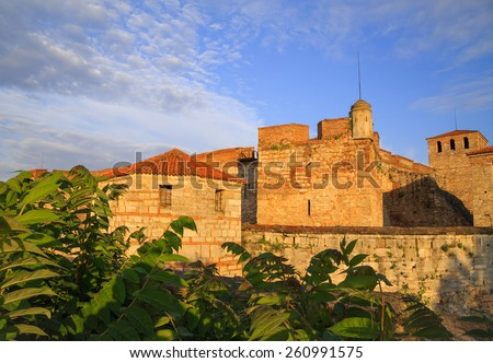 Baba Vida is a medieval fortress in Vidin in northwestern Bulgaria and the town's primary landmark. Baba Vida is said to be the only entirely preserved medieval castle in the country. - stock photo
