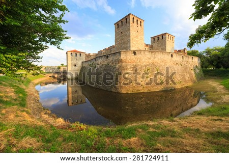 Baba Vida is a medieval fortress in Vidin in northwestern Bulgaria and the town's primary landmark. Baba Vida is the only one entirely preserved medieval castle in the country. - stock photo