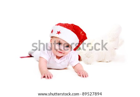babe in santa hat isolated on white background