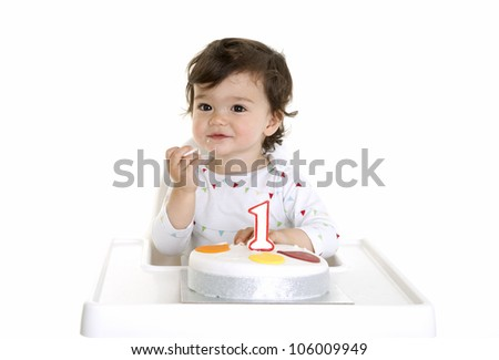 Babies first birthday - stock photo