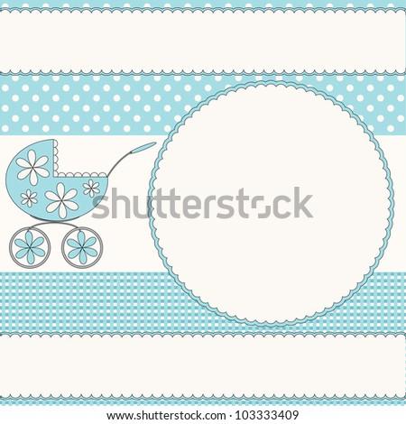 Babies photo frame with pram - stock photo