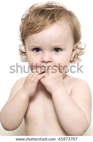 babies portrait blond drops wet surprise bathing face curls - stock photo