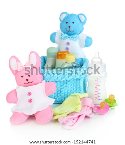 Baby accessories isolated on white - stock photo