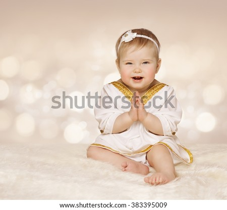 Baby Ancient Dress, Kid Girl in White Clothes Folded Hands, One Year Old