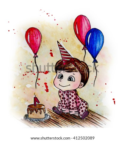 baby and birthday holiday background. watercolor illustration - stock photo