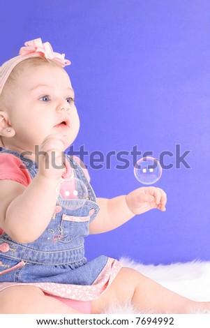baby and bubble - stock photo