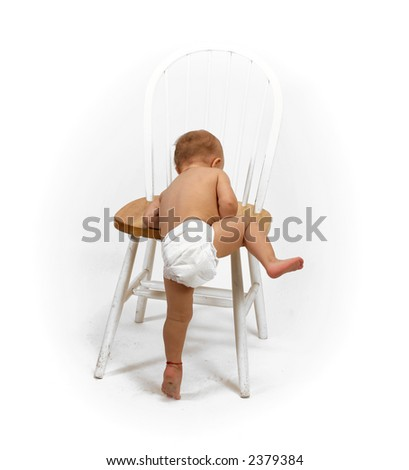 baby and chair - stock photo