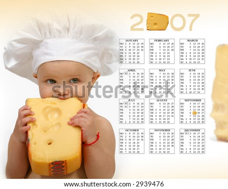 Baby and cheese - calendar 2007