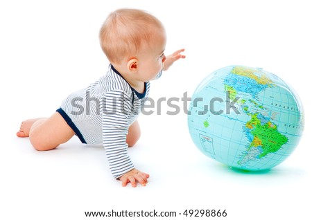 Baby and globe. Isolated on white background - stock photo