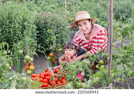 baby and grandmother in garden with tomatoes - stock photo
