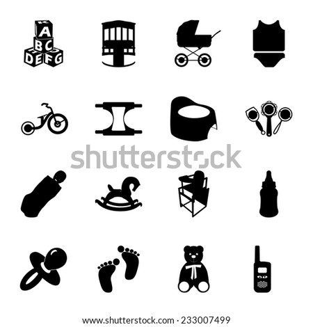 Baby and kids flat icons set - stock photo
