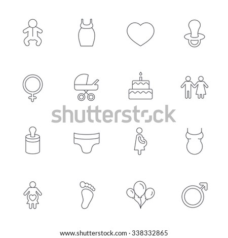 Baby and Maternity icons. Toddler, diapers and child footprint symbols. Heart, birthday cake and pacifier thin outline signs. Pregnant woman, couple and air balloons. Outline line icons on white.  - stock photo