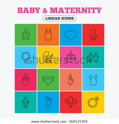 Baby and Maternity icons. Toddler, diapers and child footprint symbols. Heart, birthday cake and pacifier thin outline signs. Pregnant woman, couple and air balloons. Linear icons in colored squares. - stock photo