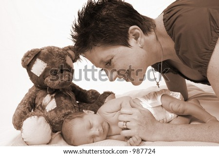 Baby and mother - stock photo