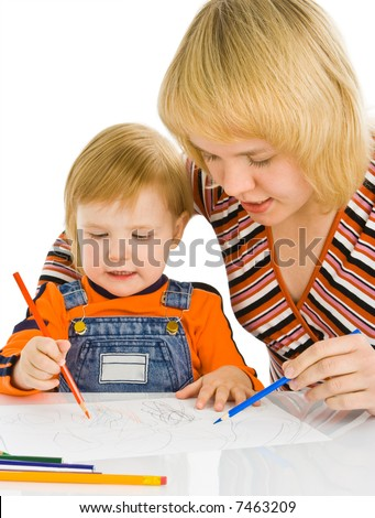 baby and mother draw color pencil over white background