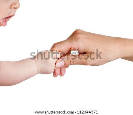 baby and mother hands isolated on white