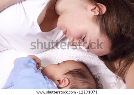 Baby and mother sleep