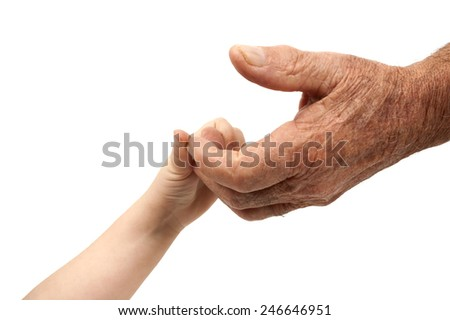 baby and old adult hands - stock photo