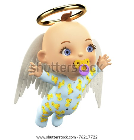 baby angel flying - stock photo