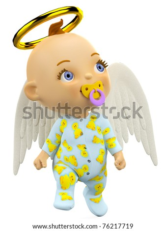 baby angel thinking about - stock photo