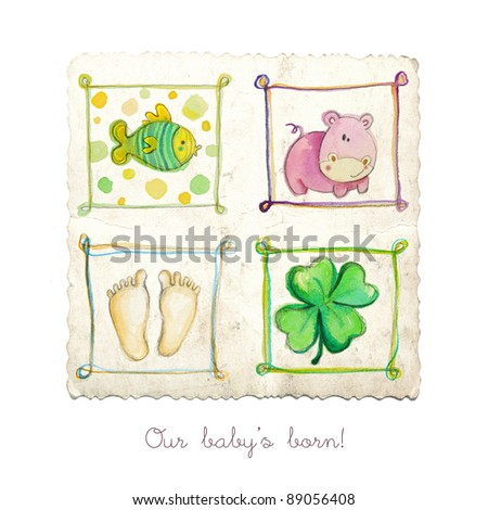 Baby arrival card with cute abstract elements - stock photo