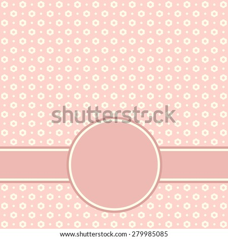 Baby Arrival Card with pink floral Frame.  - stock photo
