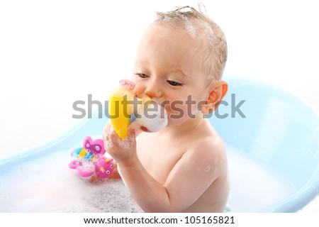 Baby Bathing - stock photo