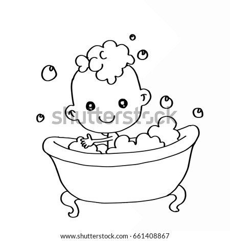 Baby Bathing Bathtub Coloring Stock Illustration 661408867 ...