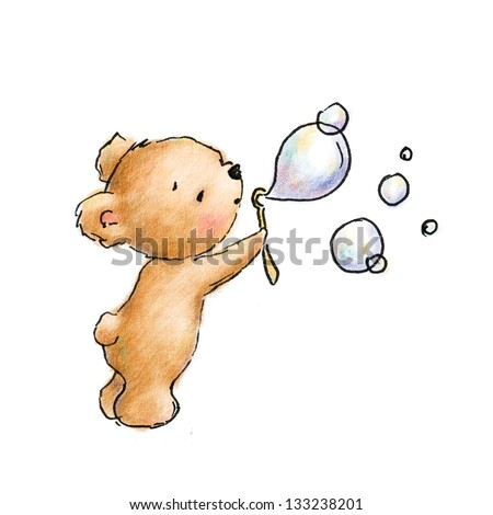 baby bear blowing bubbles - stock photo