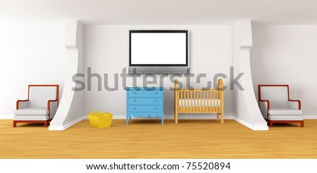 Baby bedroom with a crib and lcd tv - stock photo