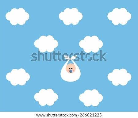 Baby between clouds