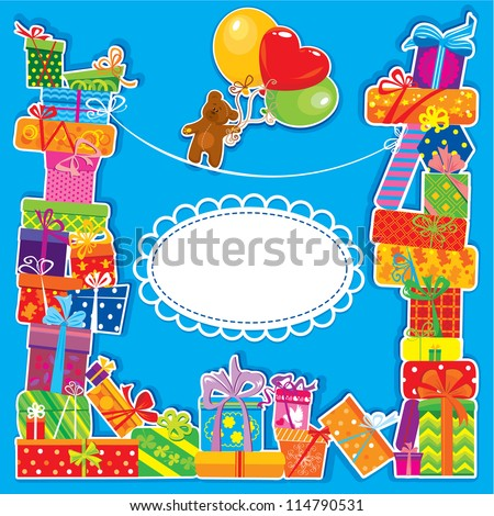 baby birthday card with teddy bear and gift boxes for boy. raster version