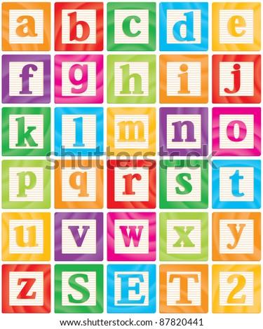Baby Blocks Set 2 of 3 - Small Letters Alphabet - stock photo