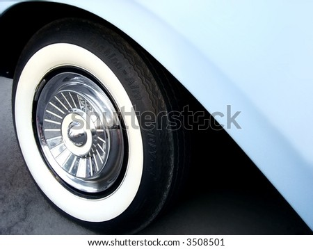 baby blue classic car - stock photo