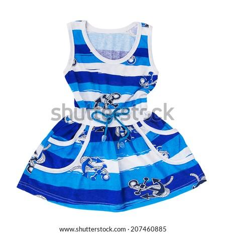 Baby blue dress isolated on white background - stock photo
