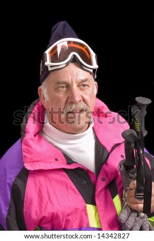 Baby- boomer skier isolated on black - stock photo