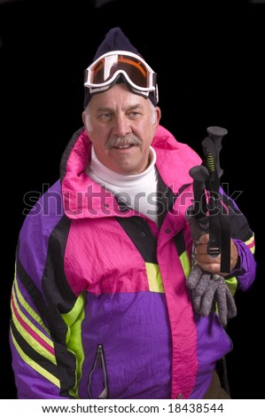 Baby boomer skier isolated on black - stock photo
