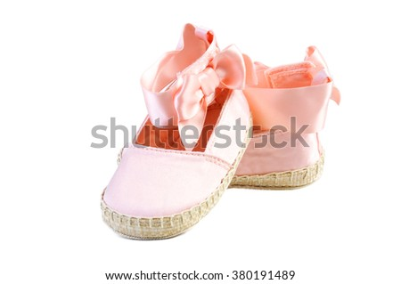 Baby booties shoes on white background - stock photo