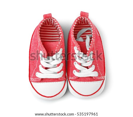 Baby boots on white background